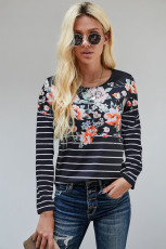 Black Floral Striped Print Long Sleeve Top