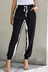 Pantaloni neri con coulisse a righe casual