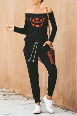 Sort Halloween Jack-O-lantern Print Jumpsuit
