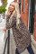 Brown Leopard Print Open Front Pocketed Cardigan