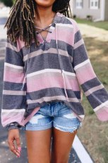 Pink Lantern Sleeve Lace-up Color Block Striped Knit Hoodie
