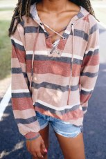 Lengan Lentera Oranye Lace-up Color Block Striped Knit Hoodie