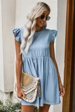 Flutter Sleeve Ruched Denim Dress Casual