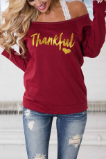 Burgundy THANKFUL Print Off Shoulder Atasan Lengan Panjang tanpa Strap