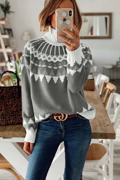 Gray High Neck Printed Knit Sweater