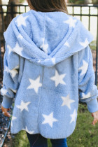Sky Blue Lapel Collar Scatter Star Fuzzy Coat