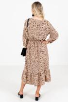 فستان متوسط الطول منقّط بني