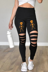 Cut-out Skeleton Print Halloween Leggings