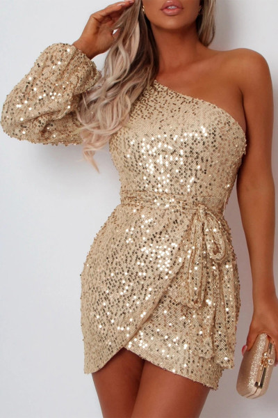 Apricot One-shoulder Lantern Sleeve Sequins Tied Waist Mini Dress