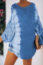 Sky Blue Letter Print Cut-out Tie Dye Lantern Atasan Lengan Panjang