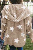Khaki Lapel Collar Scatter Star Fuzzy Coat