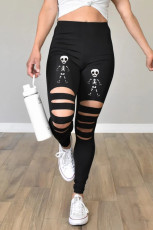 Black Cut-out Skeleton Print Halloween Leggings