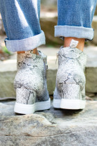 Sepatu Wedge Penutupan Zip Abu-abu