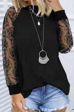 Black Lace Splicing Long Sleeve Knitted Pullover Top