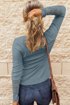 Crochet Lace Hem Sleeve Button Top