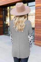 Heather Grey Leopard Print Balloon Sleeves Top