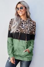 Moletom com Bloqueio de Cores Leopardo Verde Gravata