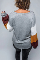 Gray Colorblock Lantern Sleeve Blouse