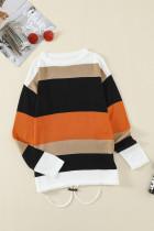 Sweater Rajut Colorblock Oranye