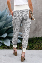 Leopard Pocket Casual Pants With Slit