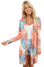 Orange Tie Dye Long Sleeve Open Front Cardigan