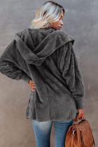 Otevřený přední kabát s kapucí z měkkého rouna
