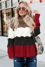 Orange Turtle Neck Color Block Fluffy Twist Sweater