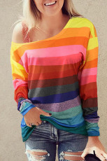Colorful Striped Slash Neck Long Sleeve Top