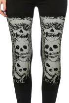 Черные леггинсы для Хэллоуина с высокой талией и принтом черепа