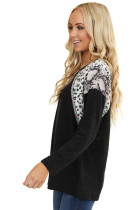 Black Long Sleeve Top With Leopard Snakeskin Print
