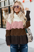 Pink Turtle Neck Color Block Fluffy Twist Sweater