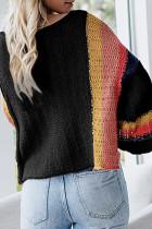 Zwarte colourblock lichtgewicht trui met klokmouwen