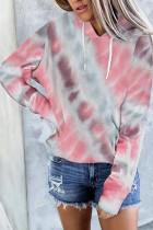 Multicolor Dropped Sleeve Tie-dye Kangaroo Pocket Hoodie dengan Drawstring
