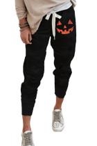 Zwarte pompoenprint Halloween casual broek met trekkoord