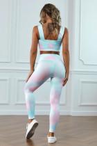 Flerfarvet slipsfarvestof-yogasæt
