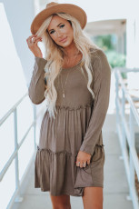 Gray Long Sleeve Ruffled Solid Swing Mini Dress