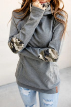 Gray Double Hooded Sweatshirt with Camo Elbow Patch and Inner Hooded