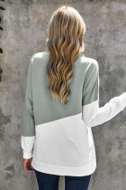 Grey Patchwork Dropped Shoulder Sleeve Sweatshirt