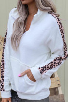 Leopard Detail Zip Collar Sweatshirt