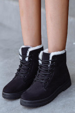 Black Suede Leather Lace-up Flat Boots