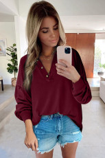 Wine Buttoned V Neck Cotton Loose Fit Top