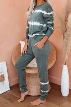 Legergroene tie-dye strepen pullover top en broek loungeset