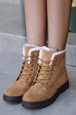 Brown Suede Leather Lace-up Flat Boots