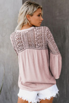 Pink The Du Jour Crochet Blouse