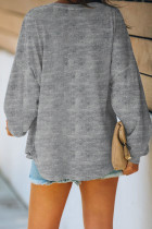 Gray Buttoned V Neck Cotton Loose Fit Top