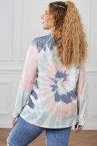 Flerfarget Ombre Tie Dye Loose Leisure Sweatshirt