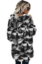Gray Camo Print Soft Fleece Hooded Open Front Coat