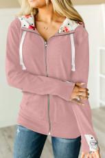 Casaco rosa com capuz e zíper com estampa floral interna com capuz