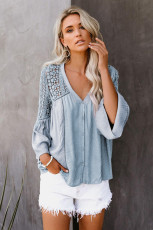 Sky Blue The Du Jour Crochet Blouse