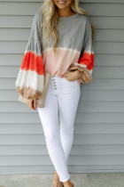 Gray Ombre Tie-dye Colorblock Lantern Sleeves Top